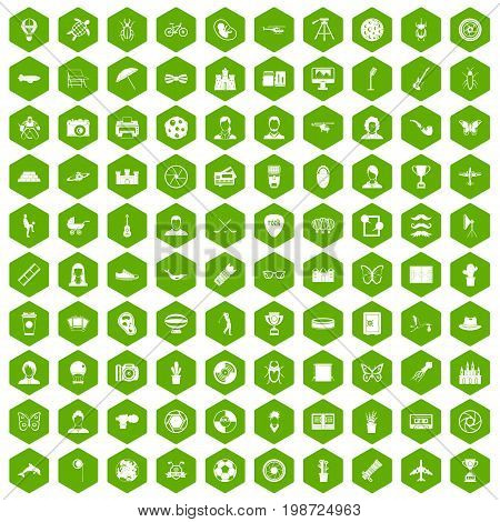 100 photo icons set in green hexagon isolated vector illustration