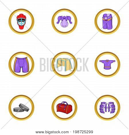 Hockey clothes icon set. Cartoon set of 9 hockey clothes vector icons for web isolated on white background