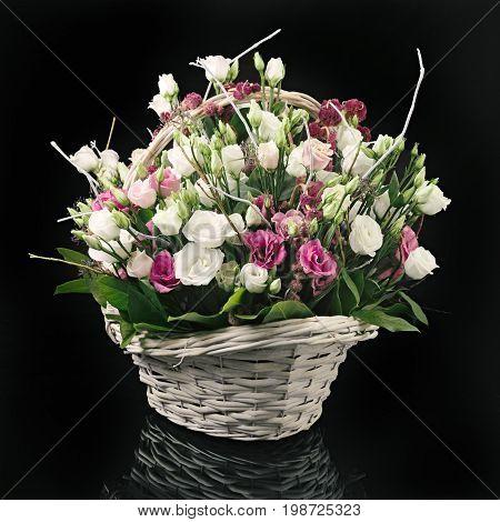 Basket Of Flowers On Black