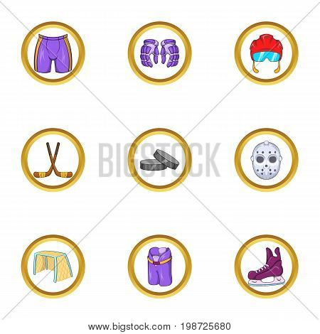 Hockey equipment icon set. Cartoon set of 9 hockey equipment vector icons for web isolated on white background