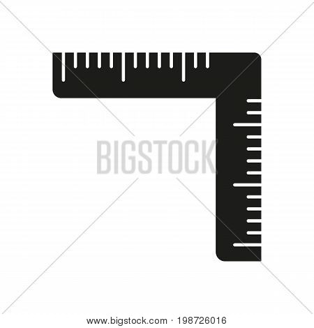 Simple icon of angled ruler. Setsquare, drafting, measuring instrument. Knowledge concept. Can be used for topics like geometry, carpentry, construction
