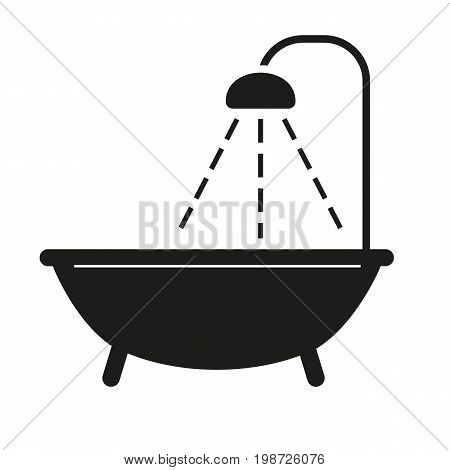 Simple icon of bath with shower. Bathroom, washroom, bathtub. Furnishing concept. Can be used for topics like furniture, service, hotel
