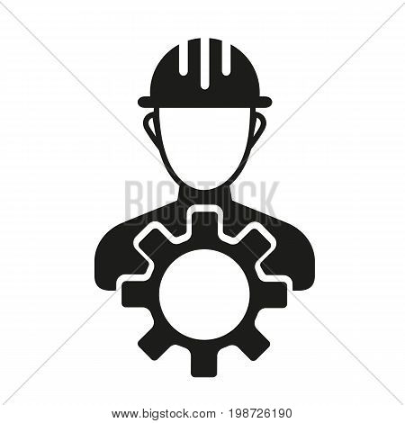 Simple icon of builder with cog. Building, construction site, mechanic. Mending concept. Can be used for topics like construction, service, maintenance