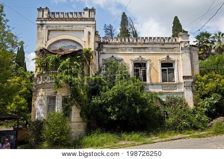 Old beautifull abandoned mansion overgrown by plants and trees. Sukhum, Abkhazia
