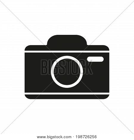 Simple icon of camera. Shooting, snapshot, photo. Photography concept. Can be used for web pictograms, application and button icons
