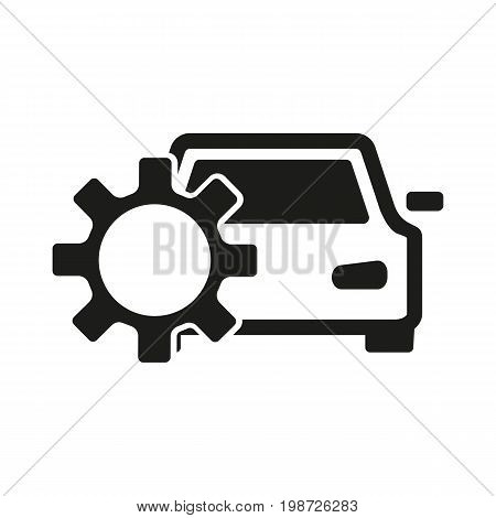 Simple icon of car and cog. Car repair symbol, auto service, maintenance. Mending concept. Can be used for topics like service, transportation, business