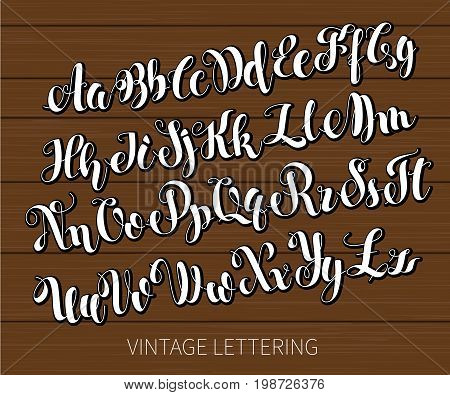 Black and white lettering. ABC Painted Letters. Modern Brushed Lettering. English alphabet. Vector handwritten brush script. Alphabet Education. White letters on chalkboard background