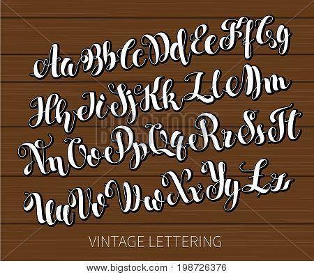 Black and white lettering. ABC Painted Letters. Modern Brushed Lettering. English alphabet. Vector handwritten brush script. Alphabet Education. White letters on chalkboard background