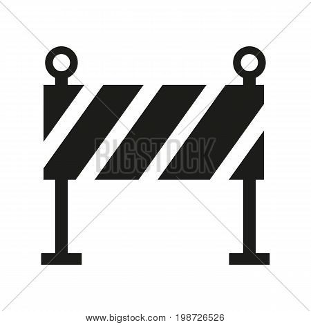Simple icon of construction barrier. Construction site, roadwork, road accident. Mending concept. Can be used for cautions signs, information boards and web pictograms