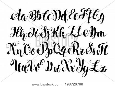 Handwritten Calligraphy Symbols. Black and white lettering. ABC Letters Modern Brushed. Painted English Alphabet. Education. Vector illustration Brush Script. Light Background.