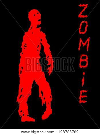 One-armed zombies silhouette in black and red colors. Vector illustration. Scary character design. The horror genre.