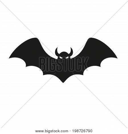 Simple icon of flying bat. Rodent, horror, fear. Halloween concept. Can be used for topics like holiday, zoo, animals