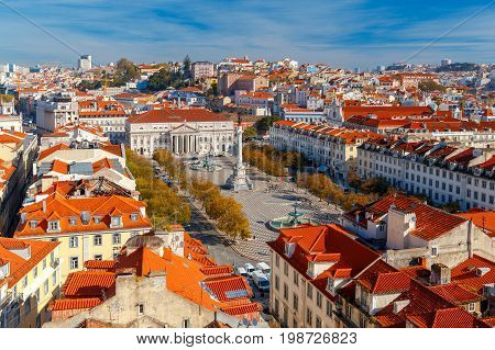 Aerial view of the city from the observation deck Santa Justa. Lisbon. Portugal.
