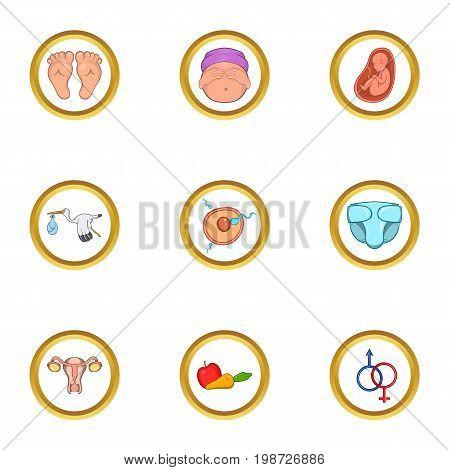 Pregnant family life icon set. Cartoon set of 9 pregnant family life vector icons for web isolated on white background