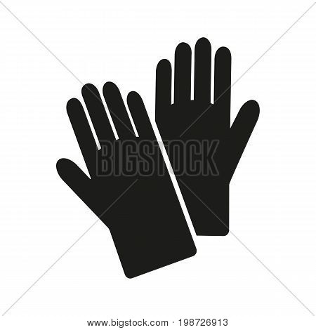 Simple icon of gardening gloves. Rubber gloves, protective workwear, washing gloves. Garden concept. Can be used for topics like gardening, cleaning service, housework