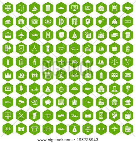 100 private property icons set in green hexagon isolated vector illustration