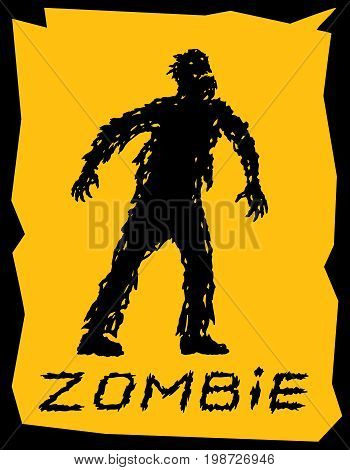 Silhouette of a walking zombie concept. Vector illustration. Drawing horror character design. Orange color background.