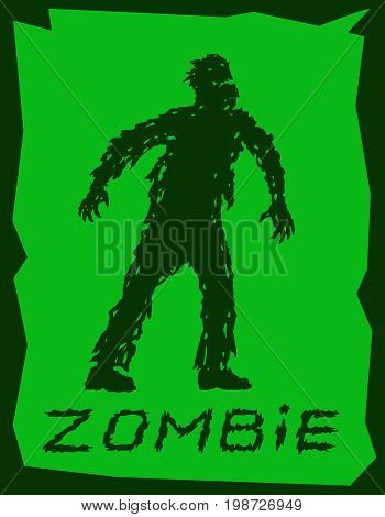 Silhouette of a walking zombie concept. Vector illustration. Drawing scary character design. The horror genre. Green color background.