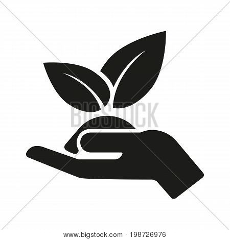 Simple icon of human hand holding seedling. Environmental protection, growth, cultivation. Garden concept. Can be used for topics like agriculture, ecology, botany