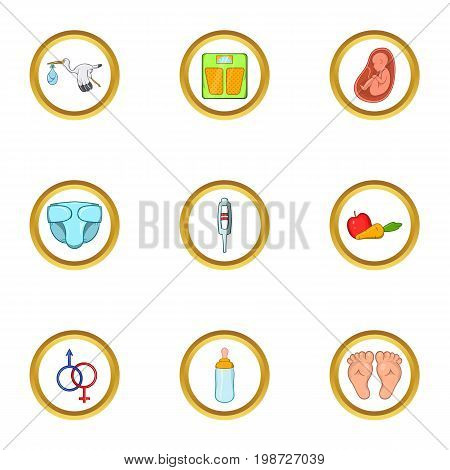 Baby period icon set. Cartoon set of 9 baby period vector icons for web isolated on white background