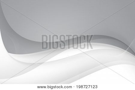 Abstract Gray Waves - Data Stream Concept. Vector Illustration