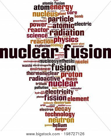 Nuclear fusion word cloud concept. Vector illustration
