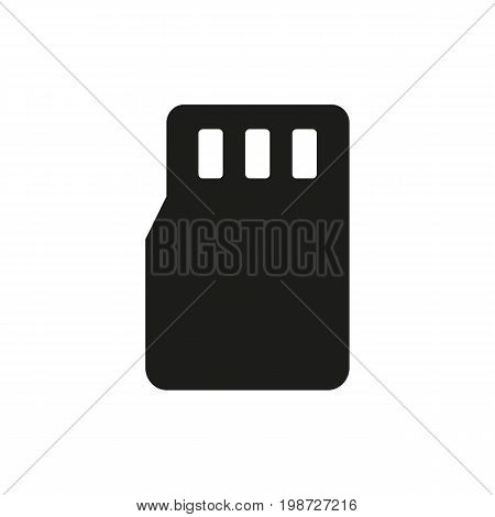 Simple icon of memory card. Camera card, smartphone card, information storage. Photography concept. Can be used for topics like technology, information, computers