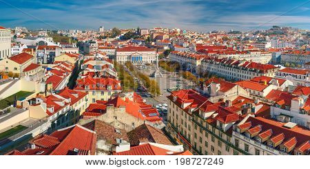 Aerial panoramic view over Dom Pedro IV square, also know as Rossio, in Lisbon, capital of Portugal