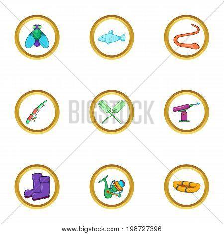 Fishing holiday icon set. Cartoon set of 9 fishing holiday vector icons for web isolated on white background