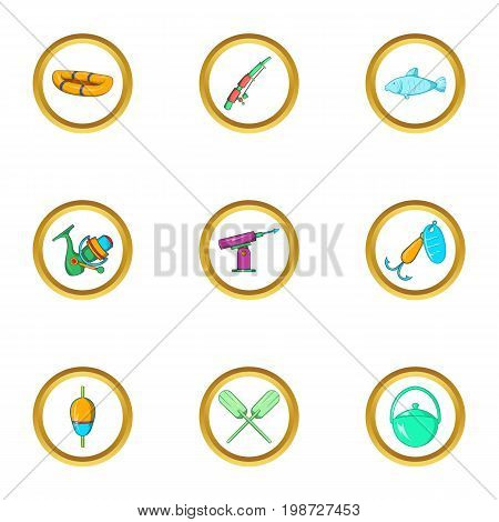 Life of fisherman icon set. Cartoon set of 9 life of fisherman vector icons for web isolated on white background
