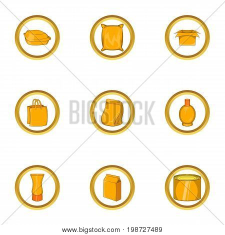 Packing icon set. Cartoon set of 9 packing vector icons for web isolated on white background
