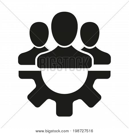 Simple icon of cog with group of people. Repair service symbol, teamwork, staff. Mending concept. Can be used for topics like service, maintenance, technical support