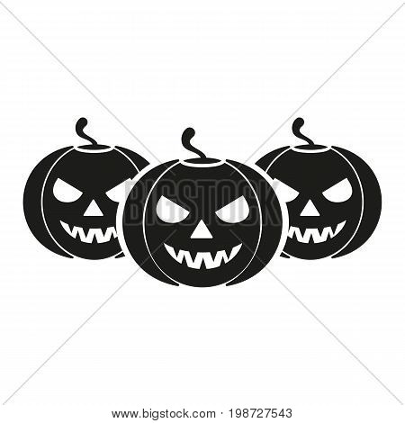 Simple icon of row of Halloween pumpkins. Halloween symbol, jack o lantern, horror. Halloween concept. Can be used for topics like holiday, celebration, holiday symbols