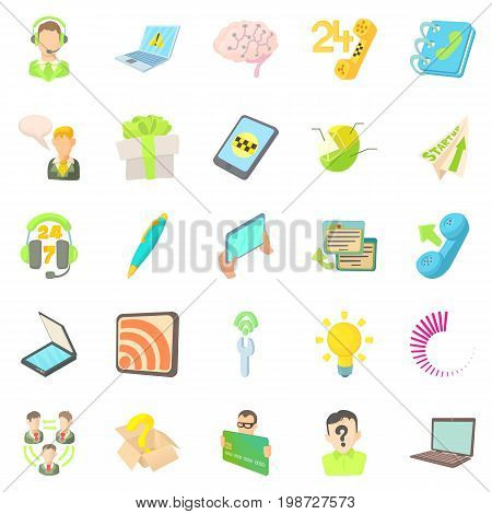 Mobile telecommunications icons set. Cartoon set of 25 mobile telecommunications vector icons for web isolated on white background