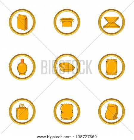 Eco packing icon set. Cartoon set of 9 eco packing vector icons for web isolated on white background