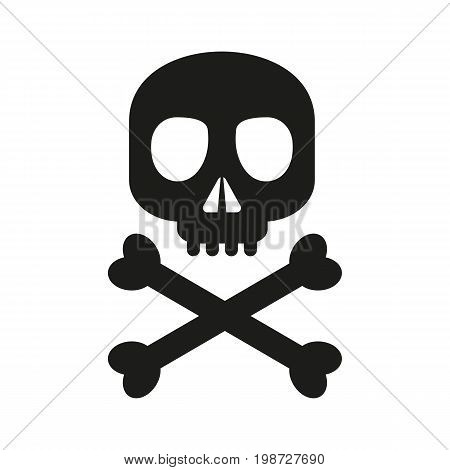 Simple icon of skull and crossbones. Danger, piracy, death. Halloween concept. Can be used for information boards, application and web pictograms