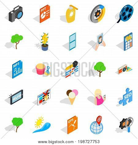 Snapshot icons set. Isometric set of 25 snapshot vector icons for web isolated on white background