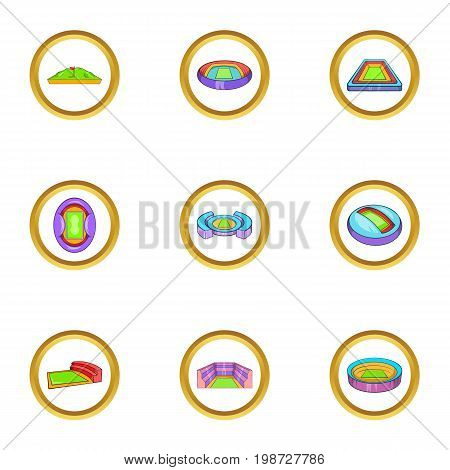 Sport arenas icon set. Cartoon set of 9 sport arenas vector icons for web isolated on white background