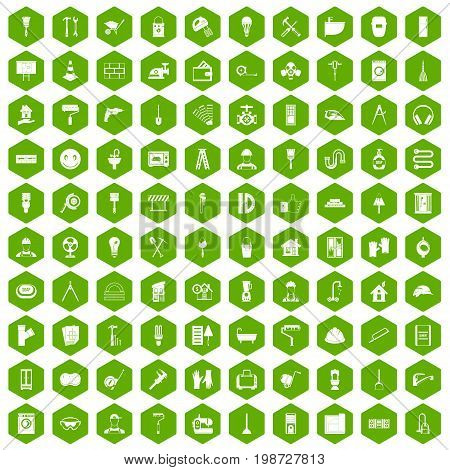 100 renovation icons set in green hexagon isolated vector illustration