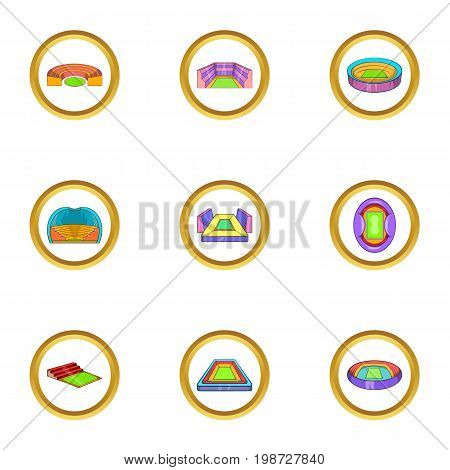 Sport buildings icon set. Cartoon set of 9 sport buildings vector icons for web isolated on white background