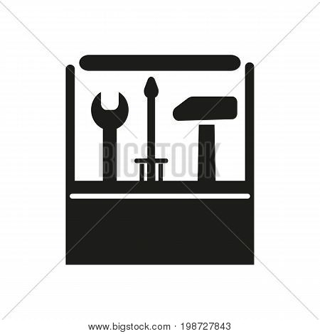 Simple icon of toolbox with screwdriver, hammer, wrench. Carpentry, serviceman, repair. Mending concept. Can be used for topics like construction, service, maintenance