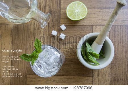 Classic Mojito Cocktail  And Recipe