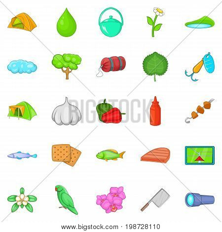 Tourist trails icons set. Cartoon set of 25 tourist trails vector icons for web isolated on white background