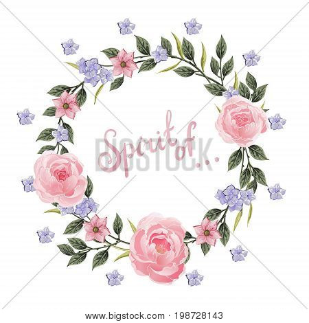 Vector flowers Beautiful wreath. Elegant floral collection with isolated blue, pink leaves and flowers, hand drawn watercolor with phrase Spirit of. Design for invitation, wedding or greeting cards