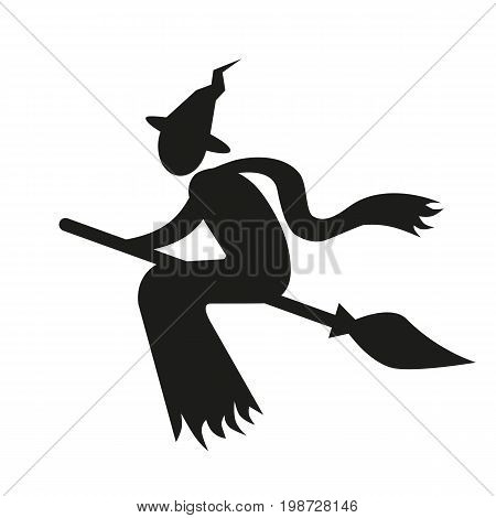 Simple icon of witch flying on broom. Wizard, horror, mystery. Halloween concept. Can be used for topics like holiday, fiction, sorcery
