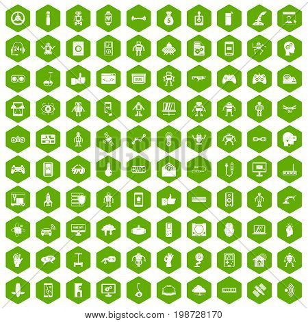 100 robot icons set in green hexagon isolated vector illustration