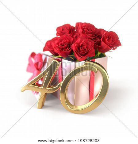 birthday concept with red roses in gift isolated on white background. 3D render - fortieth birthday. 40th