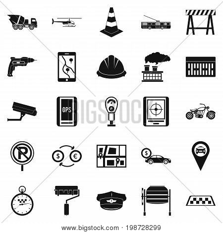 Mechanical engineering icons set. Simple set of 25 mechanical engineering vector icons for web isolated on white background