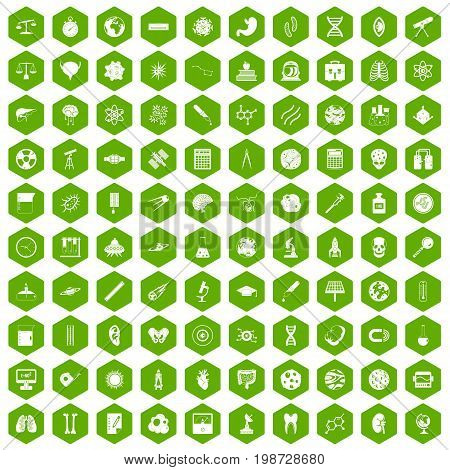 100 science icons set in green hexagon isolated vector illustration