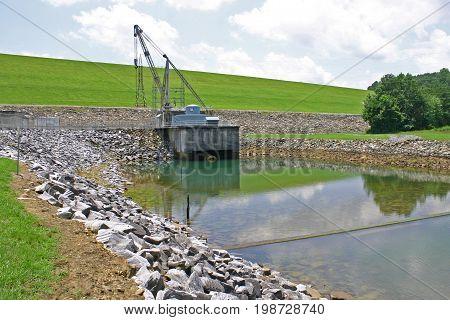the earthen dam on Lake Chatuge on the North Carolina / Georgia border